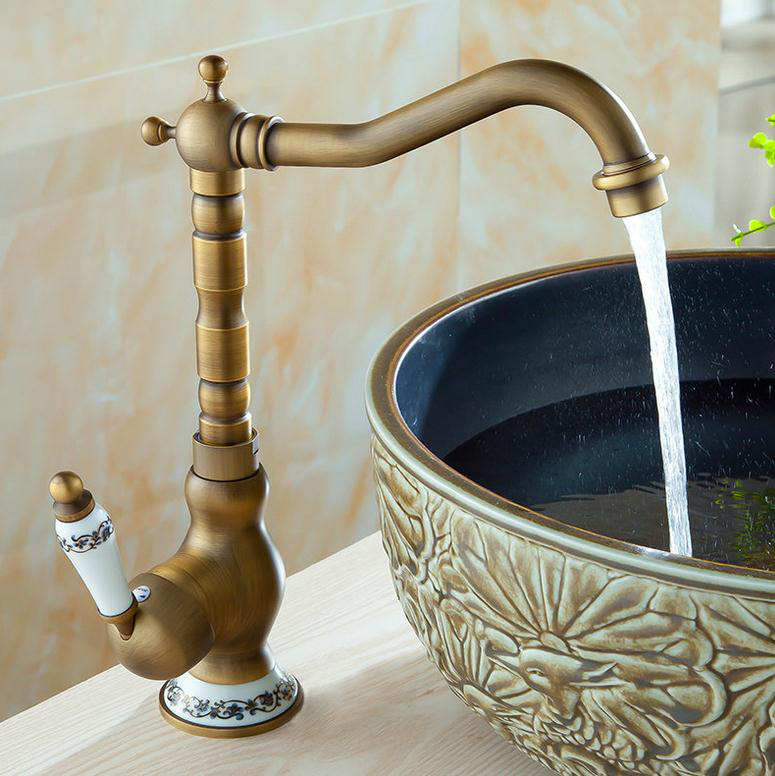 Free shipping Kitchen Faucet Antique Brass Swivel Bathroom Basin Sink Mixer Tap Crane