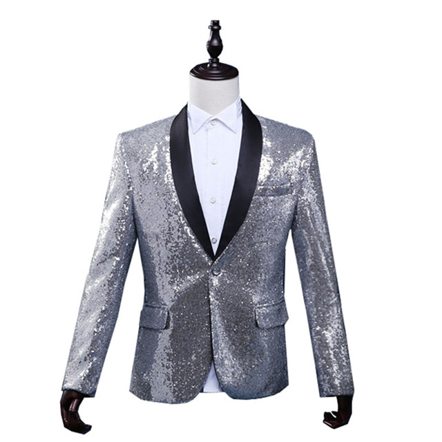 release date: 1e8ea cf0d4 US $69.3 30% OFF|Silver Sequin Stage Clothing For Men Bomber Jacket Giacca  Uomo Elegante Mens Silver Blazer Jackets Men Winter Jacket Men-in Jackets  ...