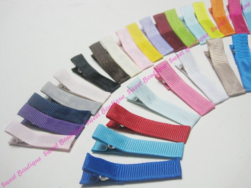 120pcs 4.5cm Single Prong Ribbon Lined Alligator Hair Clips Lined Clip Mixed Colors Available ! Free shipping to worldwide!