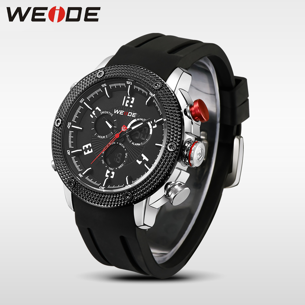 WEIDE Sport Watch Stainless Steel Case Black Big Face Waterproof Men Silicone Strap Men  Military Wrist watch relogio masculino weide popular brand new fashion digital led watch men waterproof sport watches man white dial stainless steel relogio masculino