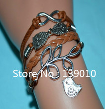 2015 New Fashion Leather Rope Charm Cuff Jewelry Silver Infinity Leaves With Bird Double Owl Kors Bracelet Bangles For Women Men