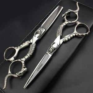 Новый дизайн, набор парикмахерских ножниц с черепом демона, ножницы для резки и прореживания, изготовленные в Тайване, со стали 440C