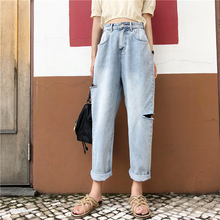 2019 New Arrivals Fashion Hot Women Denim Pants High Waist Ripped Hole Jeans Slim Straight Jeans Casual Jeans ripped jeans for women real cotton high women jeans american apparel 2016 new summer fashion denim shorts slim casual pants