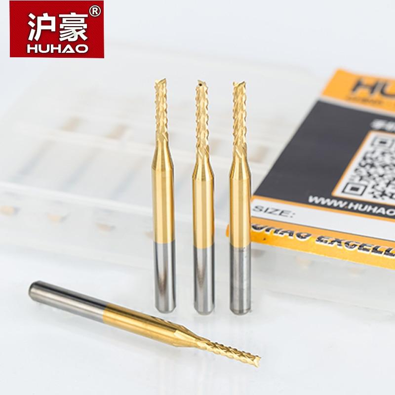 Huhao 10 unids/lote 0.6-3.175mm Tin maíz Molino de extremo cortador PCB fresado fresa bits de 3.175mm herramientas de corte