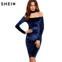 SheIn Woman Party Dresses Elegant Evening Korean Women Dress Autumn Knee Length Navy Choker Neck Velvet