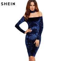 SheIn Woman Party Dresses Elegant Evening Korean Women Dress Autumn Knee Length Navy Choker Neck Velvet