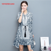 2018 Plus Size New Summer Women dress Print Sleeveless + Render Dresses Army Green Gray Pink Red Blue Yellow L0819