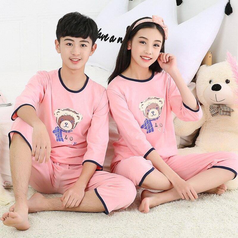 2019 Cotton Boys Girls Pajamas Summer Short Sleeve Kids Pyjamas Teen Girls Clothing Boys Clothes 10 Years Set Children Pyjama 3