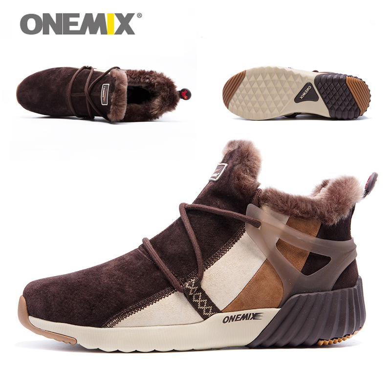ONEMIX New Winter Men's Boots Warm Wool Sneakers Outdoor Unisex Athletic Sport Shoes Comfortable Running Shoes Sales 14