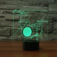 7 Colors Drum Modelling Table Lamp 3D Visual LED Night Light USB Lampara Baby Sleep Lamp