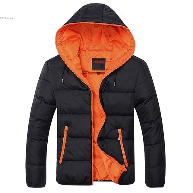 Fashion Male Winter Padded Zipper Outwear Casual Warm Down Hooded Coat Contrast Color Men Winter Jacket veste manteau homme #k