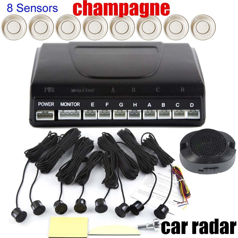 Aucun LED moniteur d'affichage capteur de stationnement de voiture 8 capteurs système de Radar de recul de voiture capteur de radar alerte sonore 9 couleurs au choix