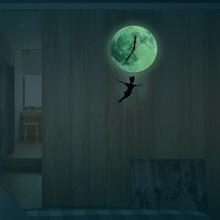 Funlife(TM) Glow in the Dark Moon Wall Clock, Funlife Exclusive Peter Pan Cartoon Nursery Moonlight Wall Pendulum Clock Luminous