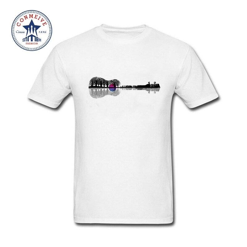 2017 Fashion Summer Style Music instrument tree silhouette ukulele guitar shape Funny T Shirt for men