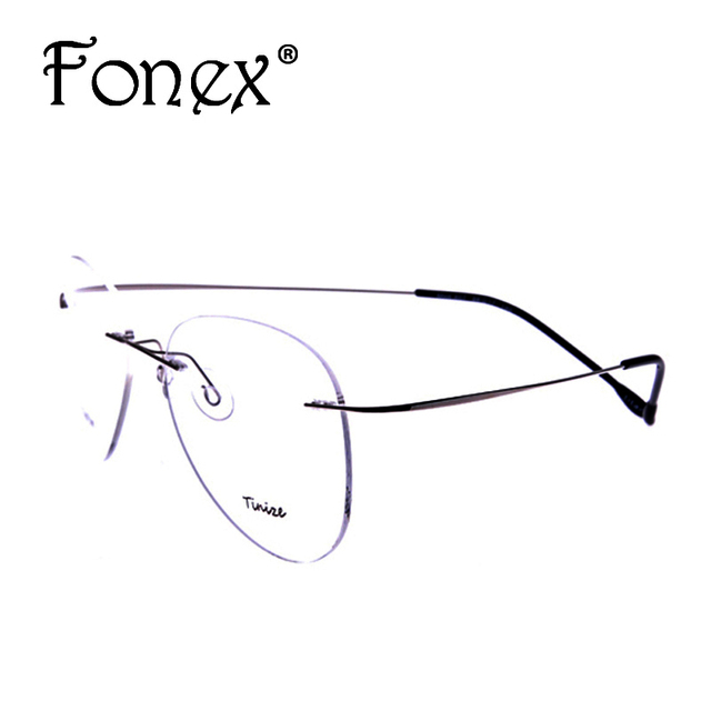 2eb391ef66 2016 New Fashion Pilot Rimless Glasses Memory Titanium Eyeglasses Myopia Optical  Frame Brand 607 TINIZE