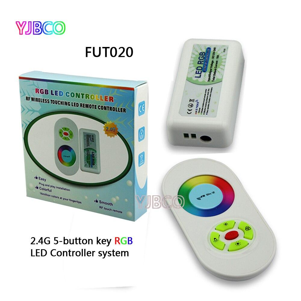 Miboxer FUT020 2.4G 5-chave botão 10A RF LED RGB Controlador para 5050 RGB 3528 3014 tira conduzida luz, DC12V/24 V