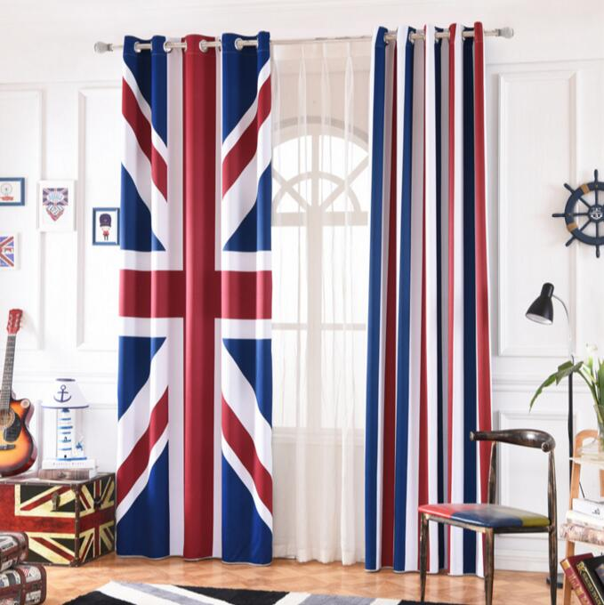 US $42.88 32% OFF|INS Cartoon British Flag Stripe Blackout Curtains For  Kids Room Printed Curtain Living room Bedroom Window Treatment Bedroom-in  ...