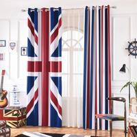 INS Cartoon British Flag Stripe Blackout Curtains For Kids Room Printed Curtain Living room Bedroom Window Treatment Bedroom