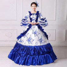 100%real royal blue ruffled Medieval Renaissance ball gown Sissi princess dressVictorian/Marie Antoinette/Colonial Belle Ball