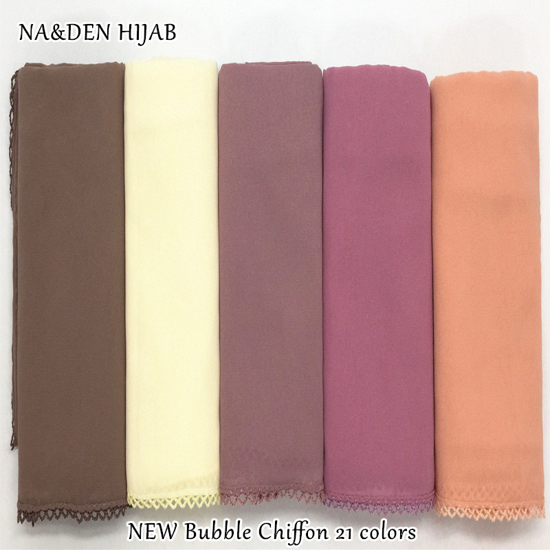 NEW Plain Bubble Chiffon Hijab Embroidery Borders Solid Color Scarf Scarves Fashion Muslim Headband Popular Hijabs 10pcs/lot