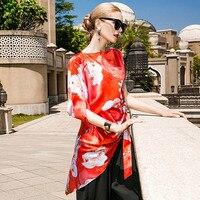 Silk печать богемский Нерегулярные блузка 2018 новый для подиума Женская летняя обувь рубашки высокого качества офисные свободные плюс размер