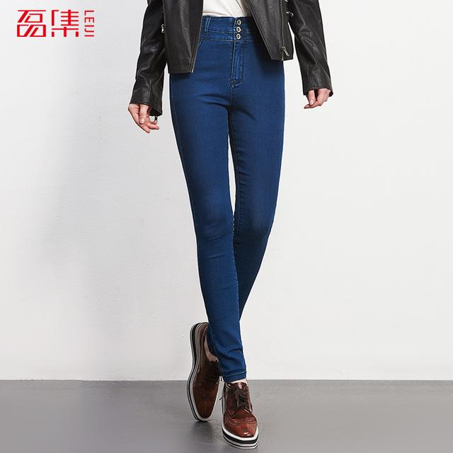 Moda de Cintura Alta calça jeans 40-120 kG Disponível Full Length Calças Plus Size Mulheres Magras calças de Jeans Lápis de Algodão Elástico calças