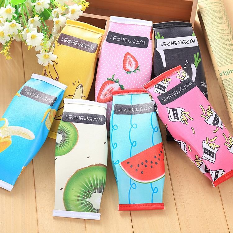 Honey 1pc Kawaii Creative Macaron School Pencil Case For Girls Chocolate Cracker Pu Leather Pencil Bag Kids Gift Storage Bags Home & Garden