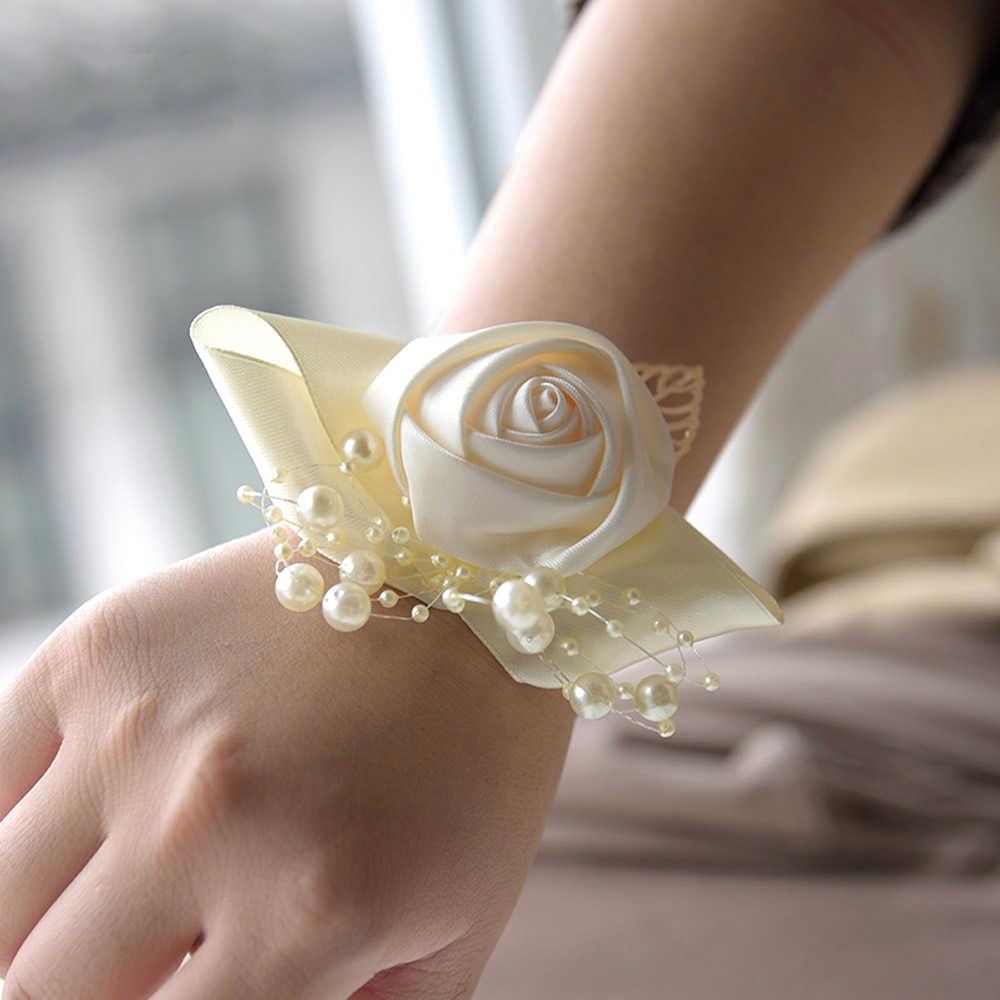 Свадебный корсаж невесты жениха на запястье цветок церемония корсавечерние жи партия жемчужный браслет ручной работы невесты жениха руки Цветы