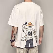 Mens Japanese cartoon Naruto printed short-sleeved t-shirt Harajuku fashion casual loose hip-hop round neck cotton