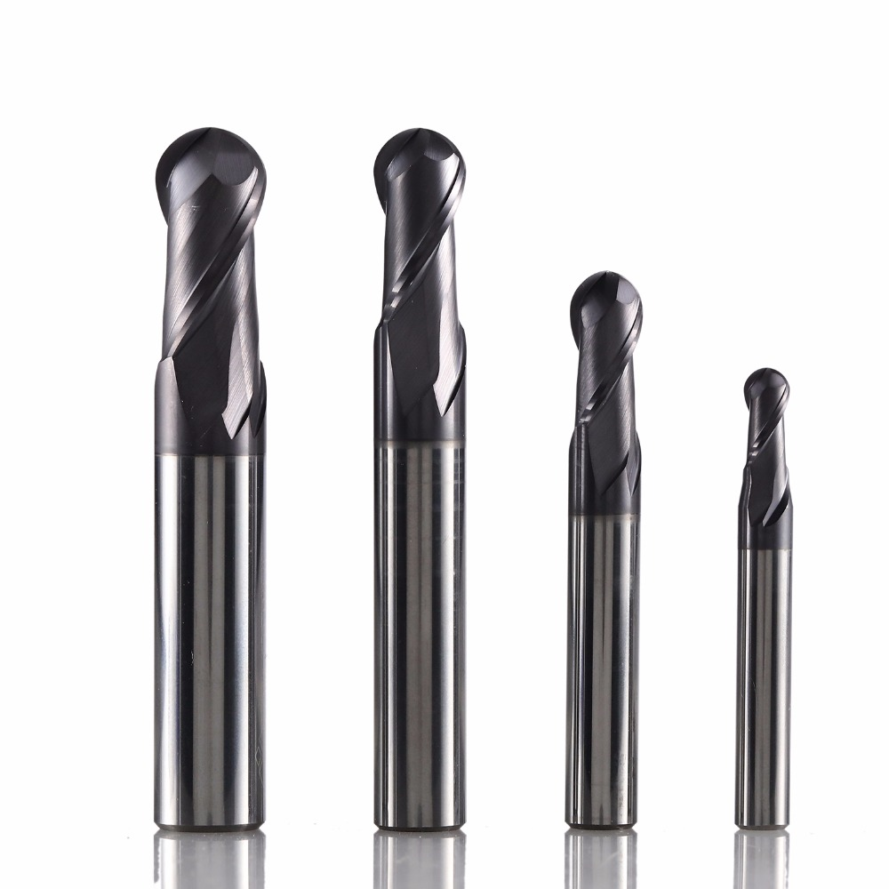 GM 2B solid tungsten steel 2 flute ball nose coated end mill cnc milling cutter cutting tools for metal machining profile HRC45 in Milling Cutter from Tools