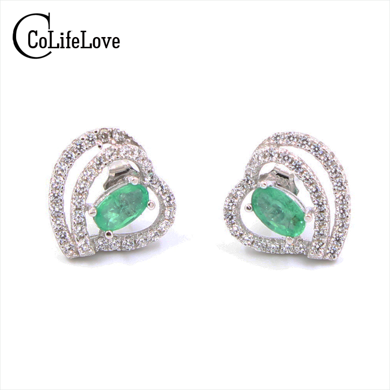 Fashion heart emerald stud earrings 3 mm 5 mm natural emerald silver earrings solid 925 silver