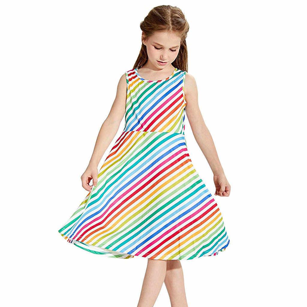 Huang Neeky W #4 2019 новые модные разноцветные, для детей возрастом от 4 до 13 лет Y молодежи подростковый для детей девочек без рукавов платье в полоску школьная праздничный сарафан Одежда для детей