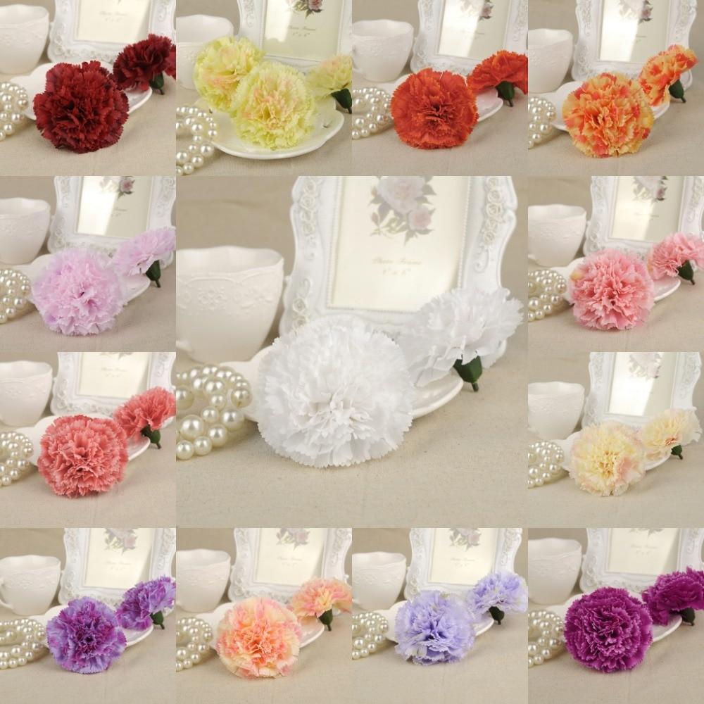 10pcs Artificial Silk Decorative Flower Heads Carnation Rose Heads ...