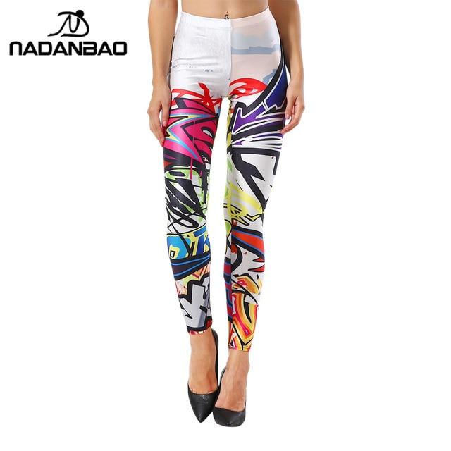 NADANBAO Nouveau style leggins Mode Coloré Comique Doodles Imprimé Leggins Femme Femmes Leggings femmes pantalon