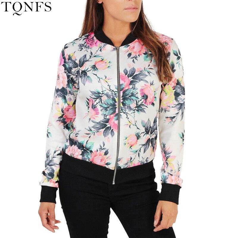 TQNFS Autumn Floral Bomber Jacket women Slim Casual Business Jacket Women Zip Up Biker Coat Outwear Camperas Mujer Abrigo