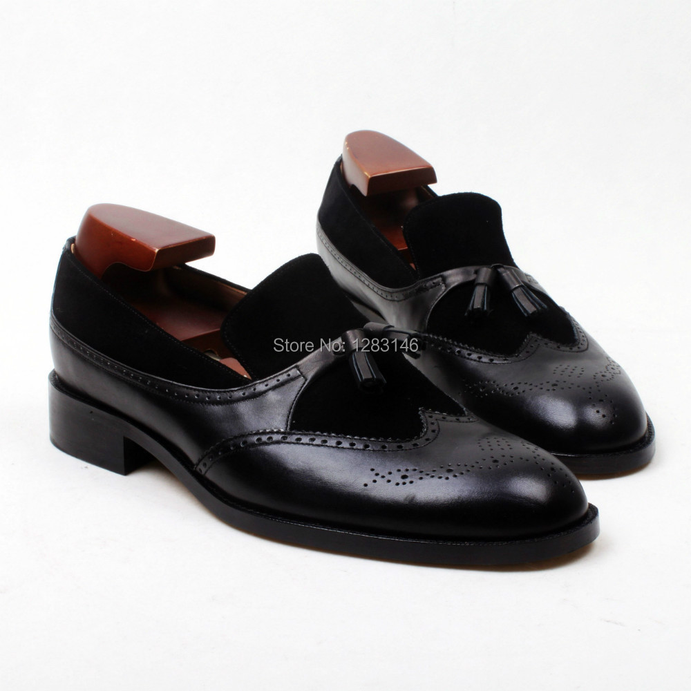 obbilly Bespoke Handmade Genuine Calf Leather Upper/outsole/Insole Black Color  Tassel Round toe Men's Shoe No.Loafer129-1 genuine leather wedges sweet round toe pure color martins ladies boots chains mid calf gum rubber outsole insole increase