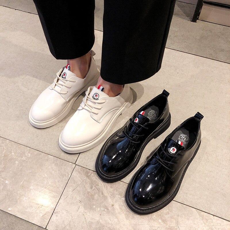 Nouveau À Noir Printemps blanc Femme 2019 Pu Lacets Style Plat Pour Bout Base Rond Décontractées Britannique Femmes blanc 3540 Solide De Noir Chaussures Taille 3Aj45LR