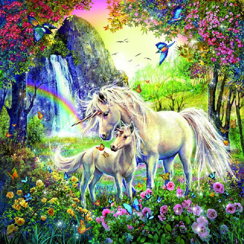 5d DIY Diamond Painting quot Unicorn flower butterfly quot Full Square Drill Cross Stitch Diamond Embroidery home Decor Y2929 in Diamond Painting Cross Stitch from Home amp Garden