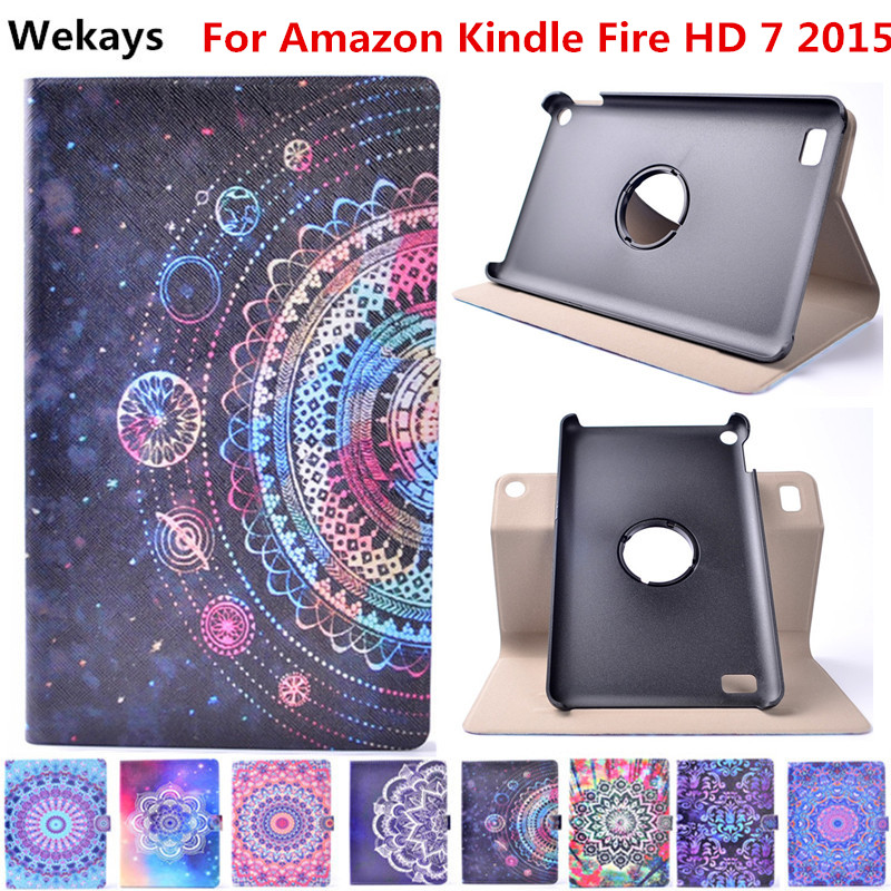 Wekays Case Kindle Fire HD7 2015 360 Leather Stand Flip Fundas Case For Coque Amazon Kindle Fire HD 7 2015 7.0 Tablet Cover Case