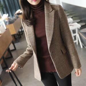 Image 1 - Automne femmes laine manteau femme Version coréenne 2019 nouveau hiver Plaid Blazer mode haute qualité femme laine manteaux