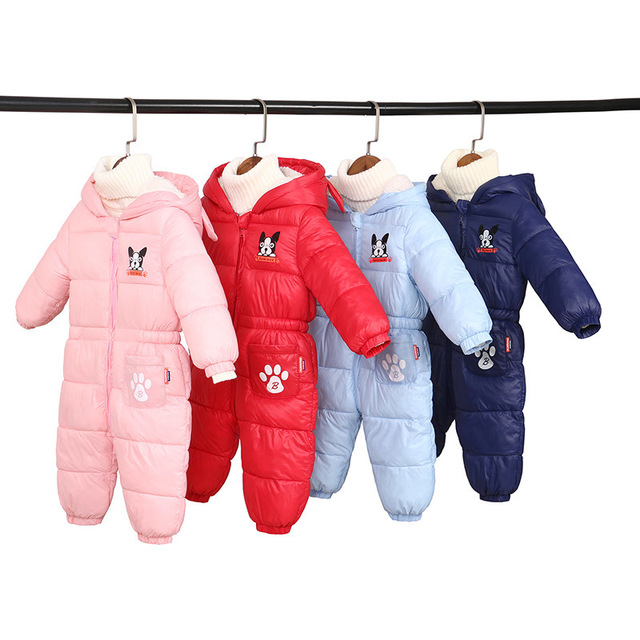 2018 new Winter spring Rompers Baby Clothes Children Boy Girls Jumpsuit Kids Down Cotton Overalls snowsuit Hooded Parka Clothing