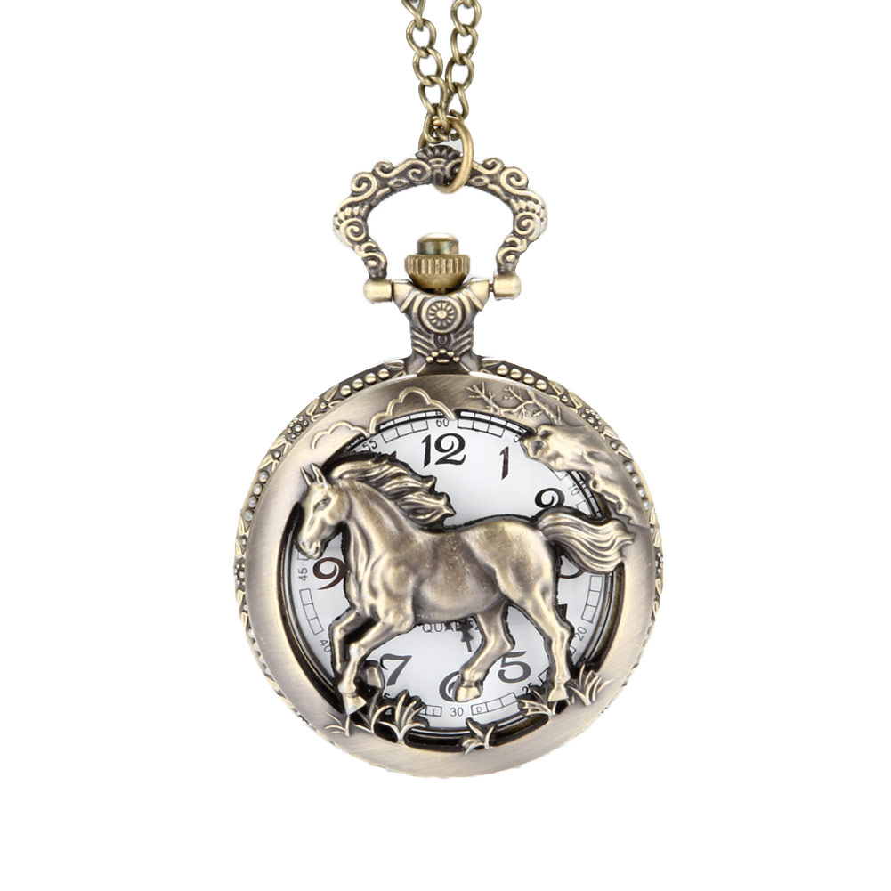 Vintage Bronze Copper Horse Hollow /Carved Quartz Pocket Watch Clock Fob With Chain Pendant Necklace Womens Men Gifts LXH retro steampunk bronze pocket watch eagle wings hollow quartz fob watch necklace pendant chain antique clock men women gift