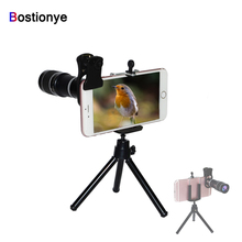 цены Bostionye 20X Mobile Phone Zoom telescope photography telephoto Lens for iPhone Samsung Smart Phones General clamp With tripod