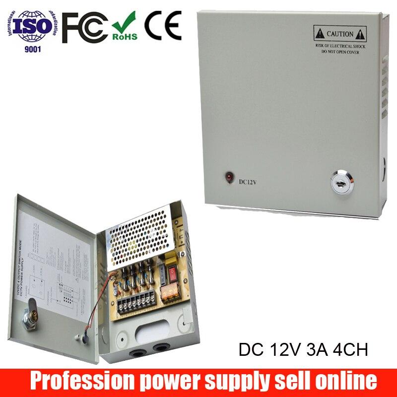 4 Channels DC 12V 3A CCTV Camera Power Box Switching Power Supply Box For Surveillances Security Camera 4CH Port 100V-240V Input