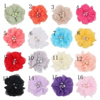 Wholesale Chiffon Flower DIY Hair Accessories Chiffon Scalloped Flowers 2 inch with Diamonds and Pearls Hairbow Supplies