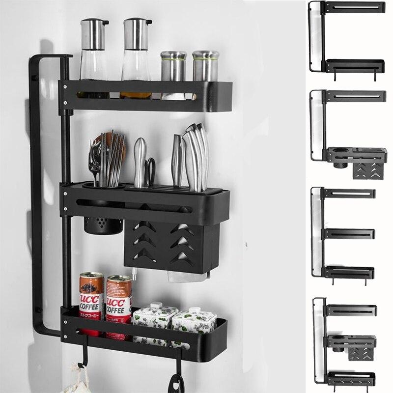 Space Aluminium Bathroom Kitchen Corner Storage Rack Seasoning Organizer Containers Shower Gel Soap Wall Mounted Rotatable Shelf|Racks & Holders| |  - title=