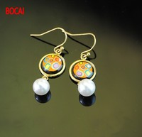 Cloisonne hand painted enamel European style earrings 8