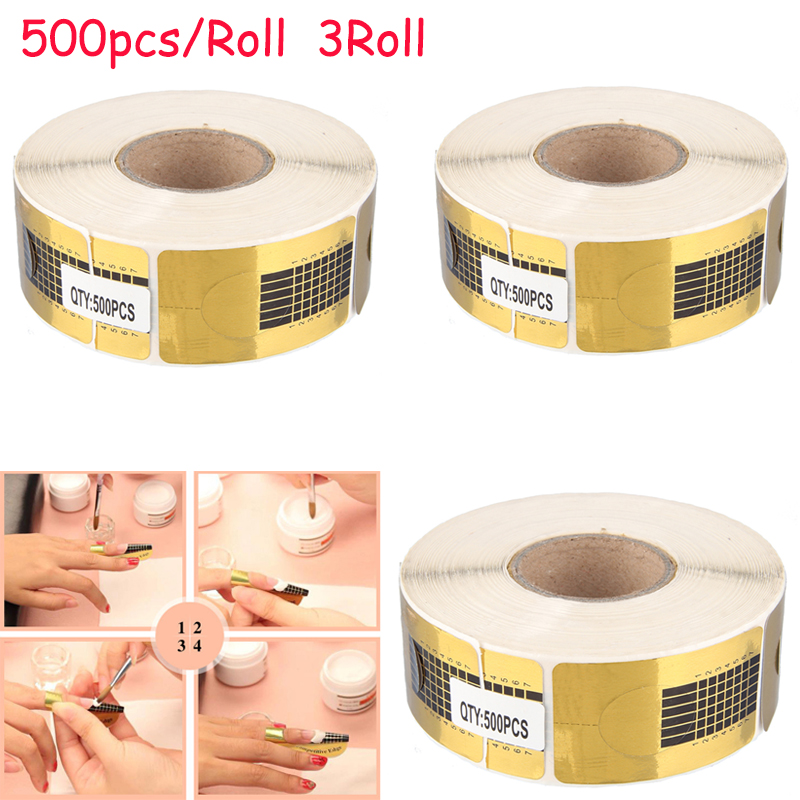 500Pcs/Roll Gold Nail Sticker Forms Acrylic Curve Nails Gel Extension Nail Art Guide Form Manicure Styling Tools Polish Gel Tips wholesale 10pc set nail extension form women nail salon equipment form art tip extension forms for acrylic uv gel 500pcs roll