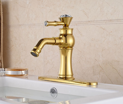 ФОТО Luxury  Crystal Gold Brass Waterfall Spout Single Lever Batrhroom Sink Basin Faucet  Mixer Tap With Cover Plate