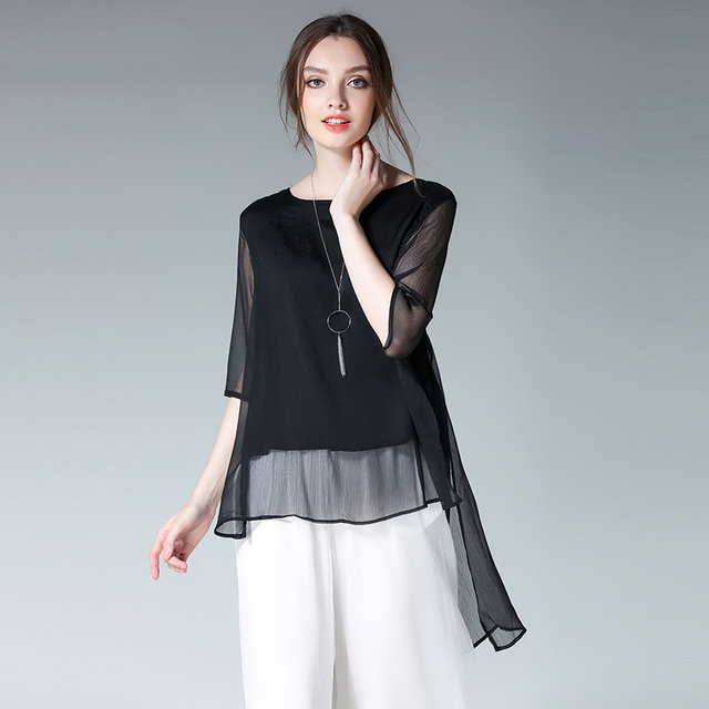 9be818464ce7cb 2019 new women high and low asymmetrical chiffon blouse plus size XL-4XL  solid color women fashion summer blouse black color
